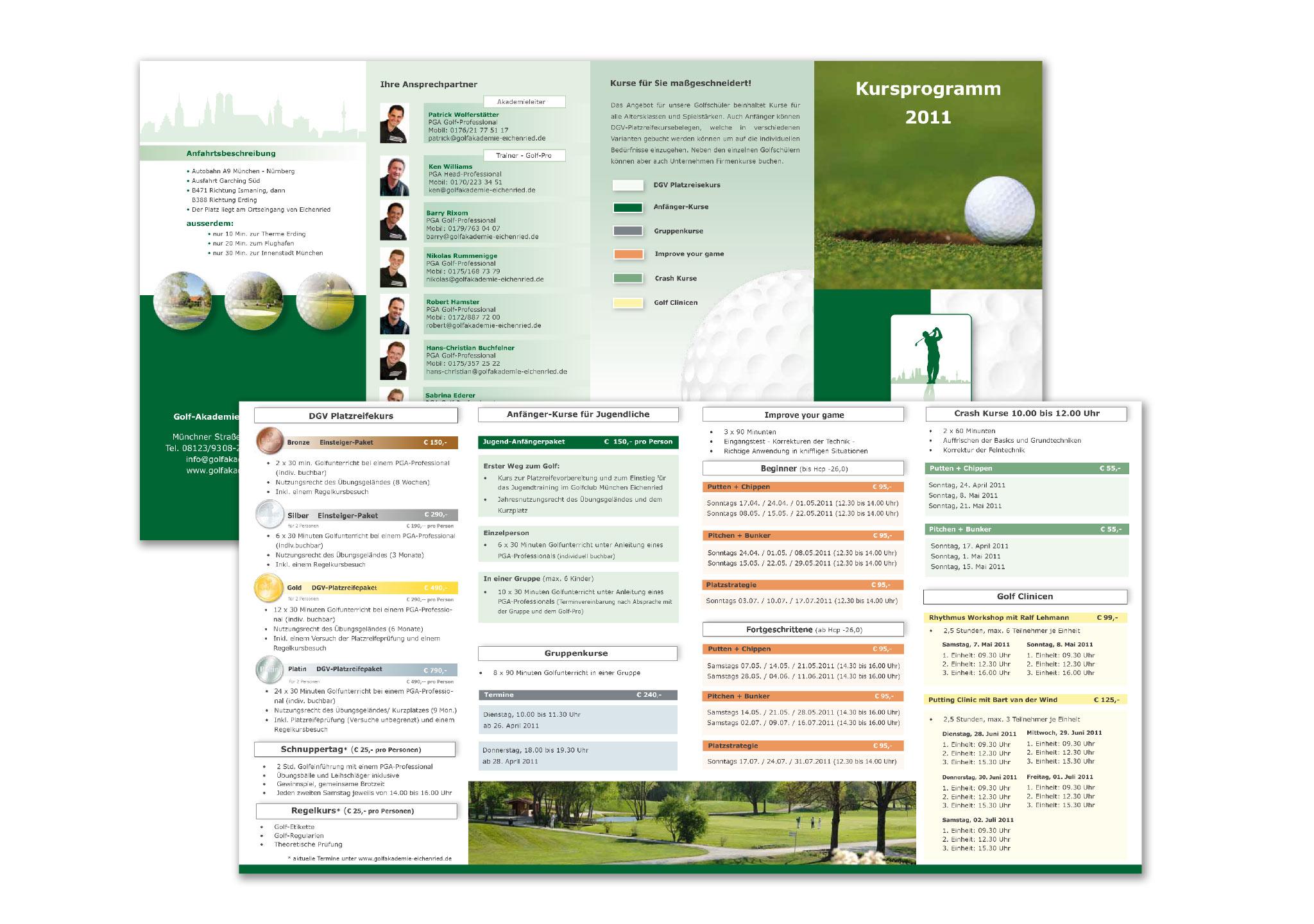 Flyer und Kursprogramm für Golf die Printmedien