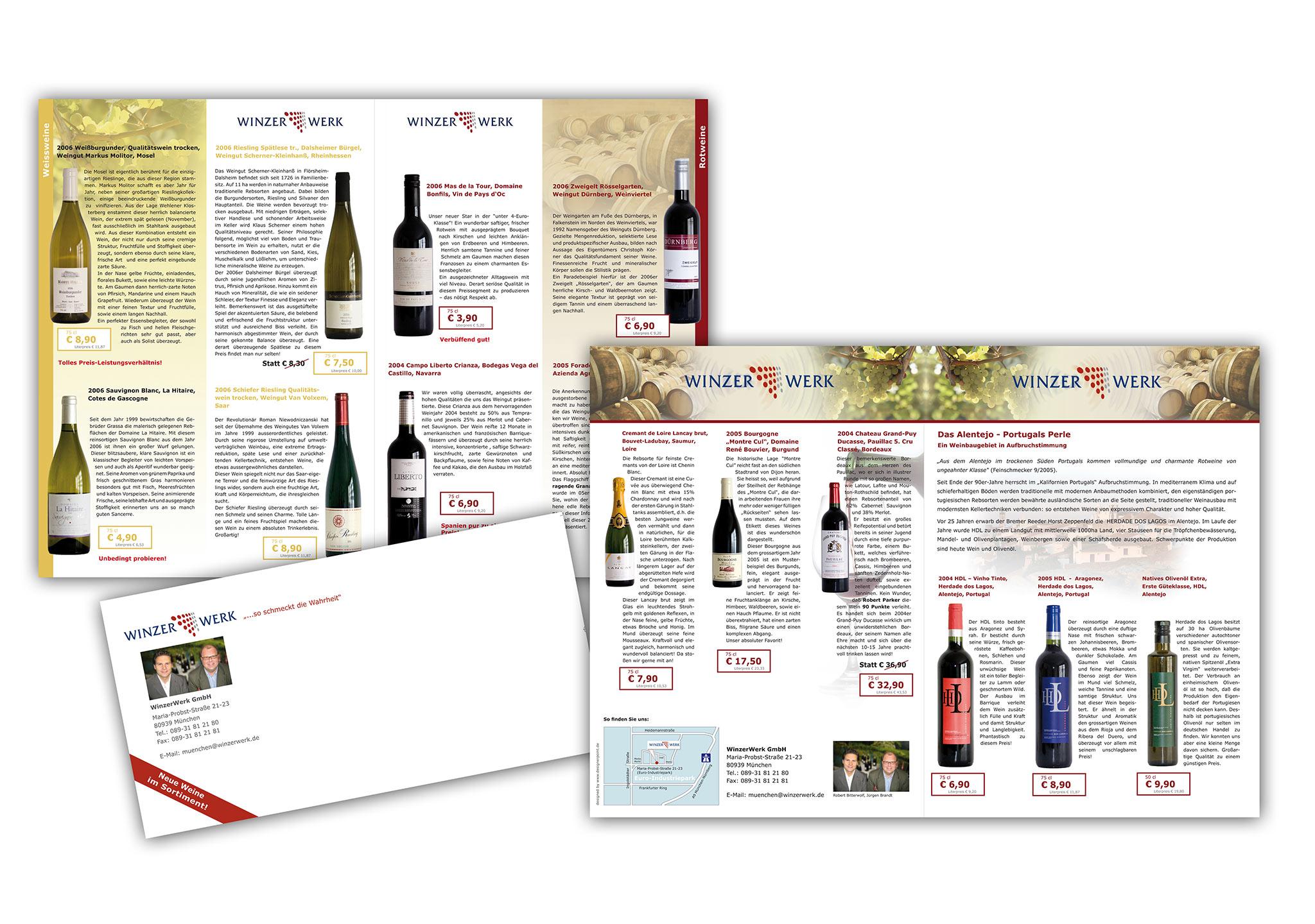 Broschüre und Flyer für Weinhandlung